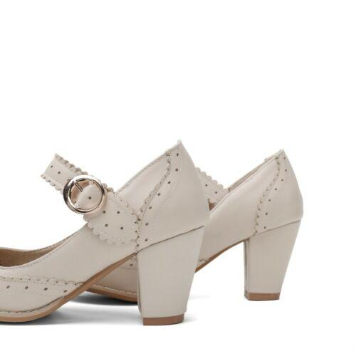 Womens Ankle Buckle Mary Jane Round Toe Fashion Chunky Mid Heels Lady Shoe Sweet