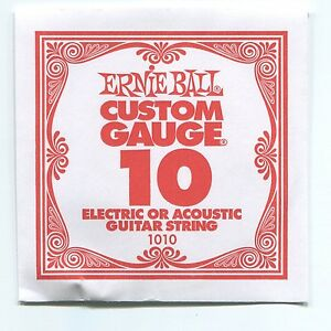 ernie ball custom gauge 10 nickel plain single guitar string regular slinky ebay. Black Bedroom Furniture Sets. Home Design Ideas