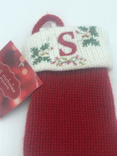 """Details about  /""""S"""" Mini Initial Christmas Stocking Red Knit 6"""" Perfect Gift Giving Holiday"""