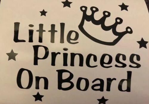Little Princess On Board Baby Child Car Window Vinyl Safety Sticker//Decal