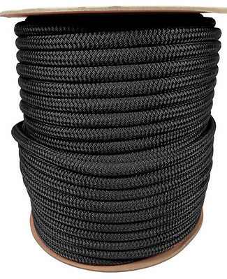 """ANCHOR ROPE DOCK LINE 3//8/"""" X 300/' DOUBLE BRAIDED 100/% NYLON BLACK MADE IN USA"""
