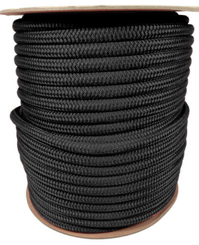 "ANCHOR ROPE DOCK LINE 3//8/"" X 150/' DOUBLE BRAIDED 100/% NYLON BLACK MADE IN USA"