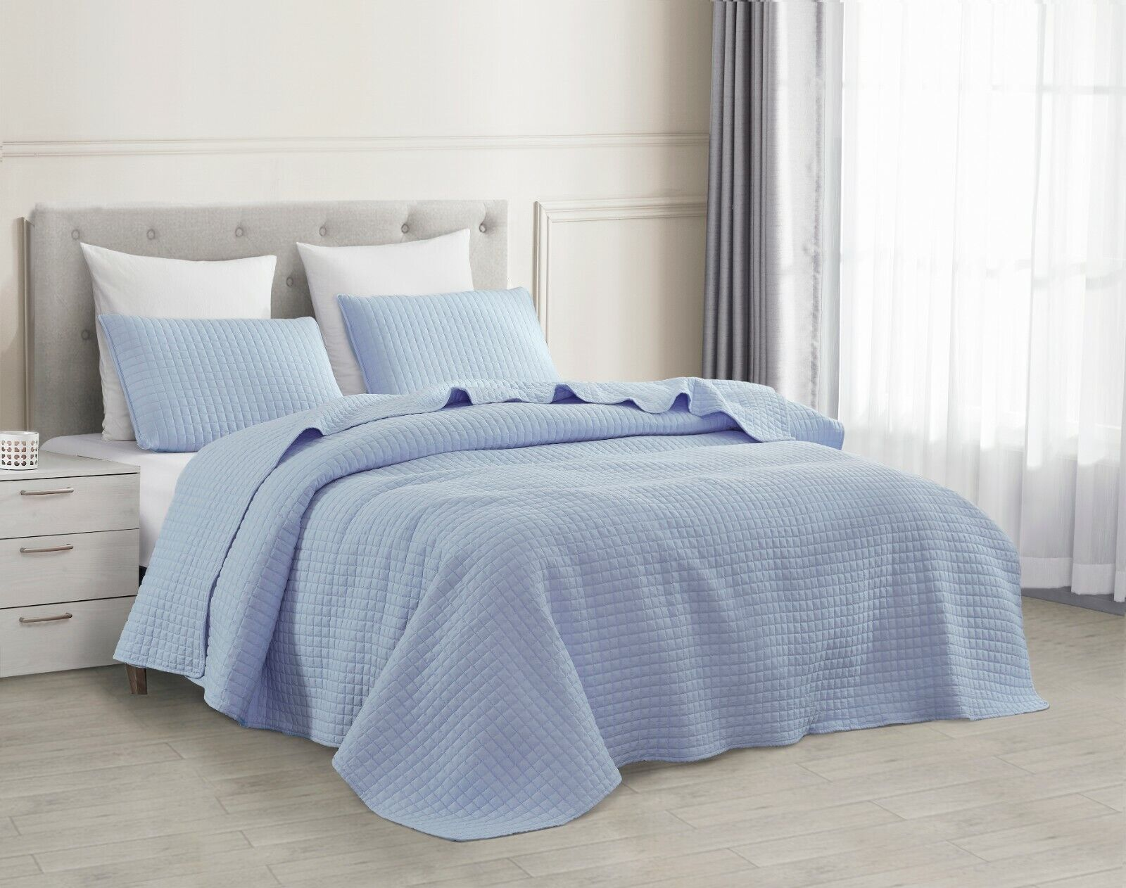 Picture of: White Queen Bedspread Set Geometric Themed Bedding Square Pattern Contemporary For Sale Online Ebay