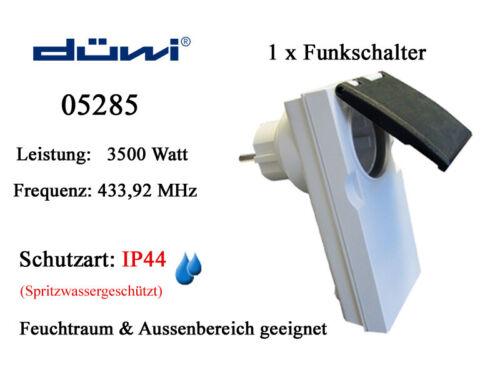 Funkschalter DÜWI 05285 Funk Zwischenstecker 3500 Watt IP44 Funksteckdose 230V