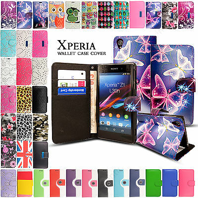Leather Flip Wallet Case Cover For Sony Experia Phones Models & Screen Protector