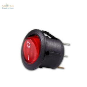 5x-Wippschalter-1-polig-EIN-AUS-schaltend-rot-beleuchtet-12V-Wippenschalter-rund