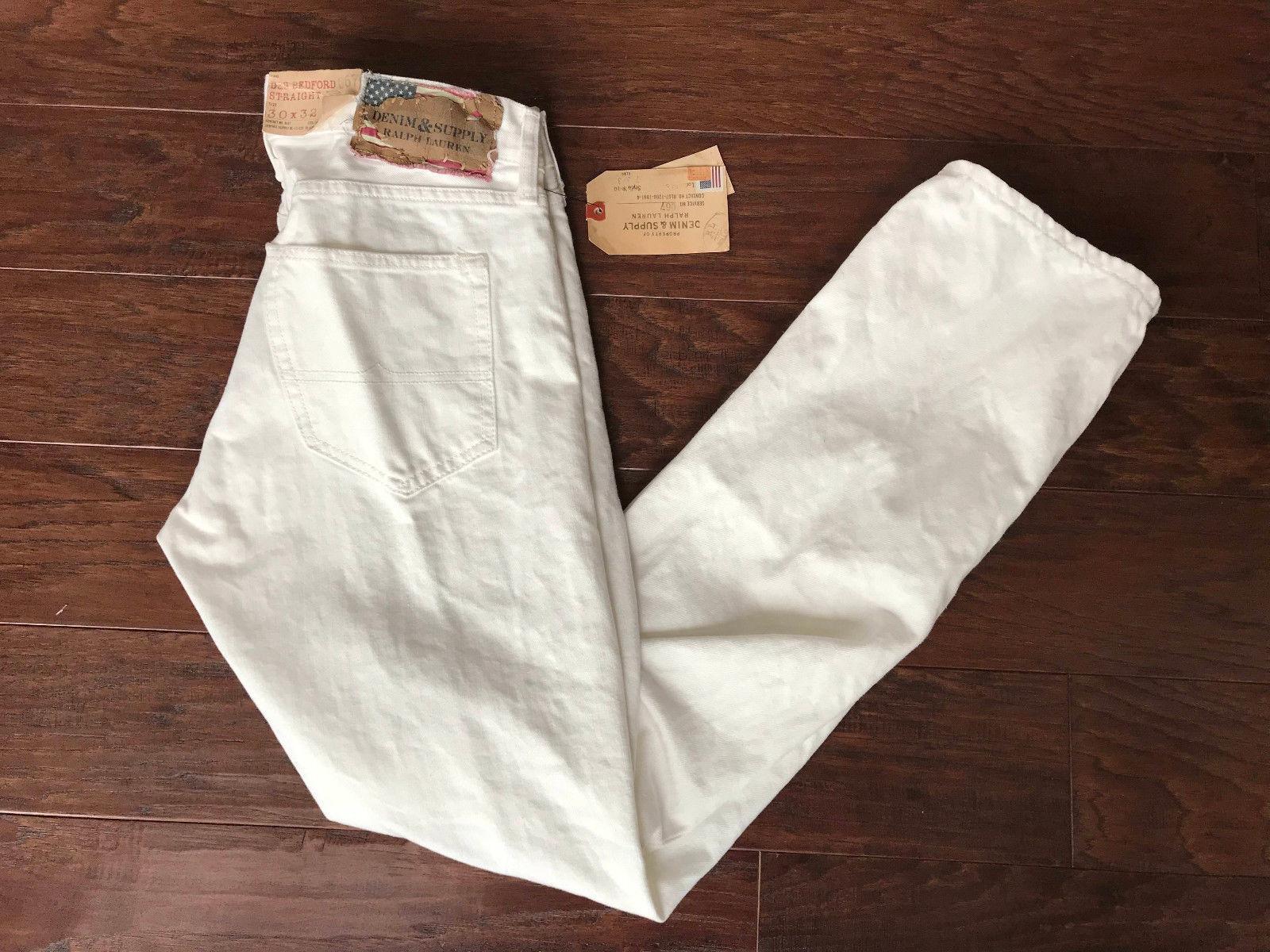 Denim Supply Ralph Lauren Straight-fit Coolige Jeans  White Mens Size 30x32 New