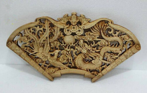 CHINESE HAND CARVED STATUE CAMPHOR WOOD FAN-SHAPED WALL SCULPTURE 23 STYLE