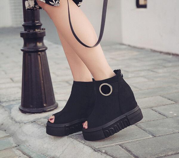 Sandalen Stiefel Frau Keilabsätze Platform Schwarz Ferse 10 cm Leder Kunststoff