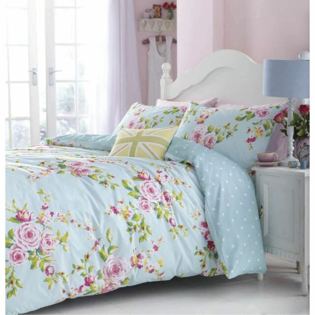 057bf79442c CATHERINE LANSFIELD DUCK EGG BLUE FLORAL CANTERBURY DOUBLE DUVET COVER SET