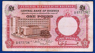 1 One Pound 1967, Federal Republic Of Nigeria, Nigeria Banknotes ! An Enriches And Nutrient For The Liver And Kidney