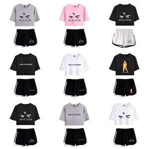 Billie Eilish Crop Top T Shirt Bauchfreies Kurzes Oberteil Mit Shorts Hotpants Ebay