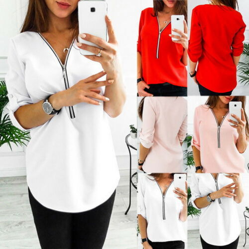 Fashion Women Deep V-Neck Zip Front Button Tab Roll Up Sleeve Shirt Blouse