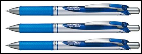 3 X Pentel EnerGel RTX Retractable Gel Roller Ball Pen 0.7mm BL77 BLUE INK Color