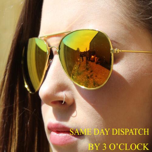 Womens Multi colour Aviators Sunglasses Fashion Retro Designer Shades Mens Ladie