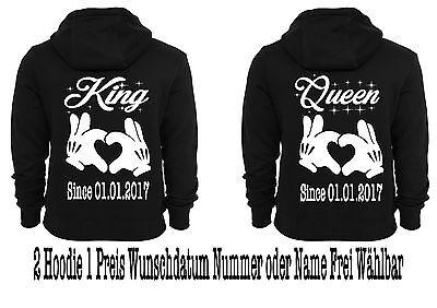 Hoodie Pullover King Queen Motiv 2 Stück Partner Look Pärchen Sweatshirt XS-5XL