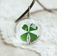 Real Green Lucky Shamrock Four Leaf Clover Round Pendant Crystal Glass Necklace