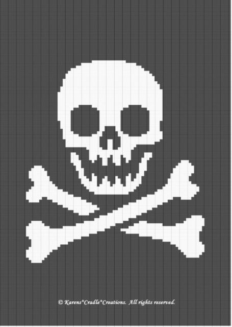 Crochet Patterns Pirates Skull Crossbones Graph Pattern Ebay