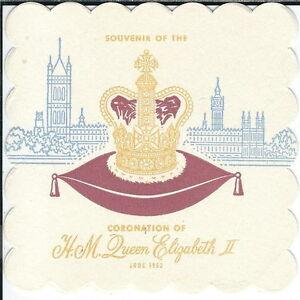 AZ-055 Souvenirs Coronation Queen Elizabeth II 1955 Two Coasters and Guest Pass