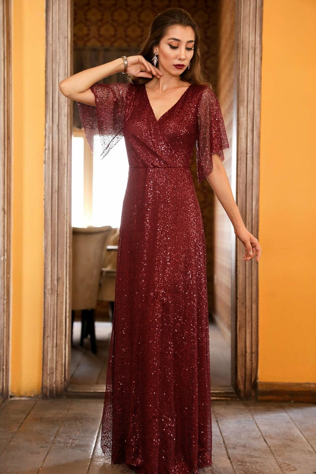 Sequined Claret Red Evening Dress