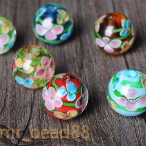 5Pcs-Czech-Glass-Crackle-Floral-Round-Loose-Spacer-Beads-Jewelry-Making-DIY