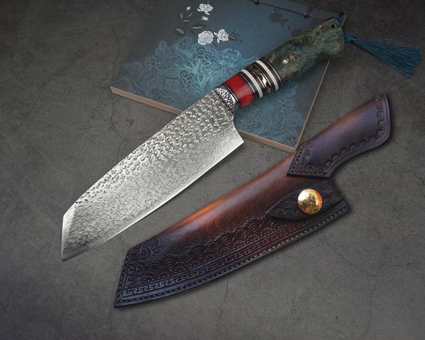 Handmade chef couteau VG10 d'acier Damas Bois Poignée Housse en cuir Tanto Point 7