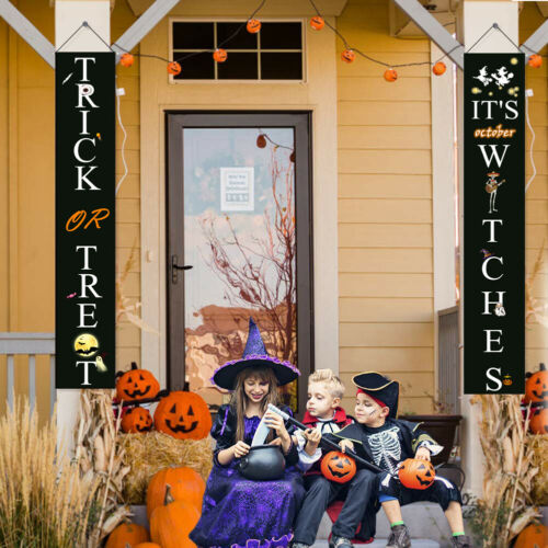 Halloween Banner Decor Trick or Treat Signs for Front Door or Indoor Home Decor