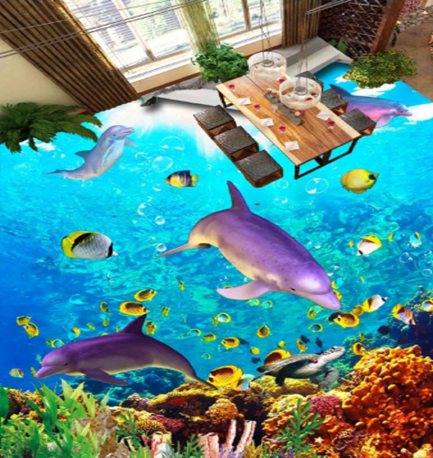 3D lila Dolphins 45 Floor WallPaper Murals Wall Print 5D AJ WALLPAPER UK Lemon
