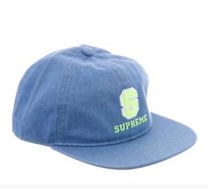 1a35c436 Supreme Denim Varsity 6-panel Hat size small Cap S logo jean lime ...