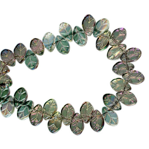 50 Or 100PCs Glass Leaves 11mm Green Aurora Borealis Leaf Beads G3307-20