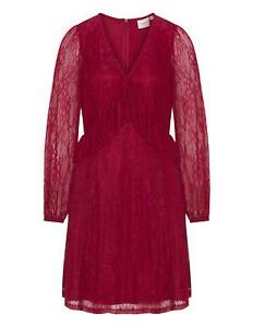 Robe Rouge Evasee Avec Volant Dentelle Junarose Parfaite Pour Les Fetes Ebay