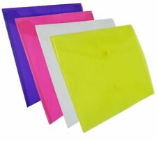SMALL LARGE DOCUMENT WALLETS Paper File Folder Plastic Stud DL A4 A5 Protector