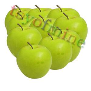 10x artificiels Green Apple Large - Pommes plastique fruit décoratif on