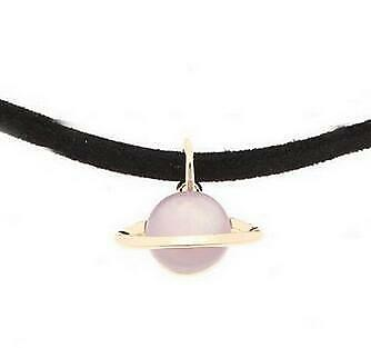 2019 Hot Colorful Saturn Planet Pendant Leather Short Choker Necklace for Girls
