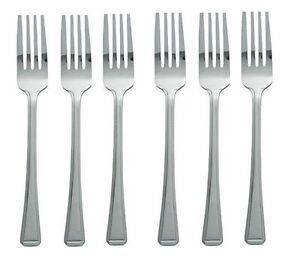 6-X-Acier-Inoxydable-Couverts-Table-de-salle-a-manger-Forks-Dinner-Forks