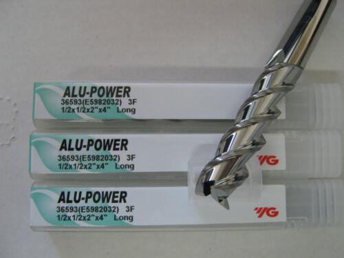 "3 PC 1//2/""x2/"" LOCx 4/"" OAL YG-1 ALU-POWER 3 Flute Carbide End Mill ALUM /""NEW/"""