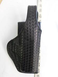 """Black Basket Weave Design Gun Holster fits 2"""" Belts"""