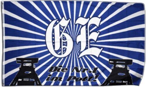 Drapeau FANFLAGGE Gelsenkirchen 2-Le Numéro 1 dans le pot drapeau Schalke Hissflagge