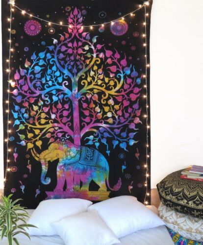 Multi Color Elephant Hippie Tapestry Twin Size Tapestry Tree Of Life Bed Sheet