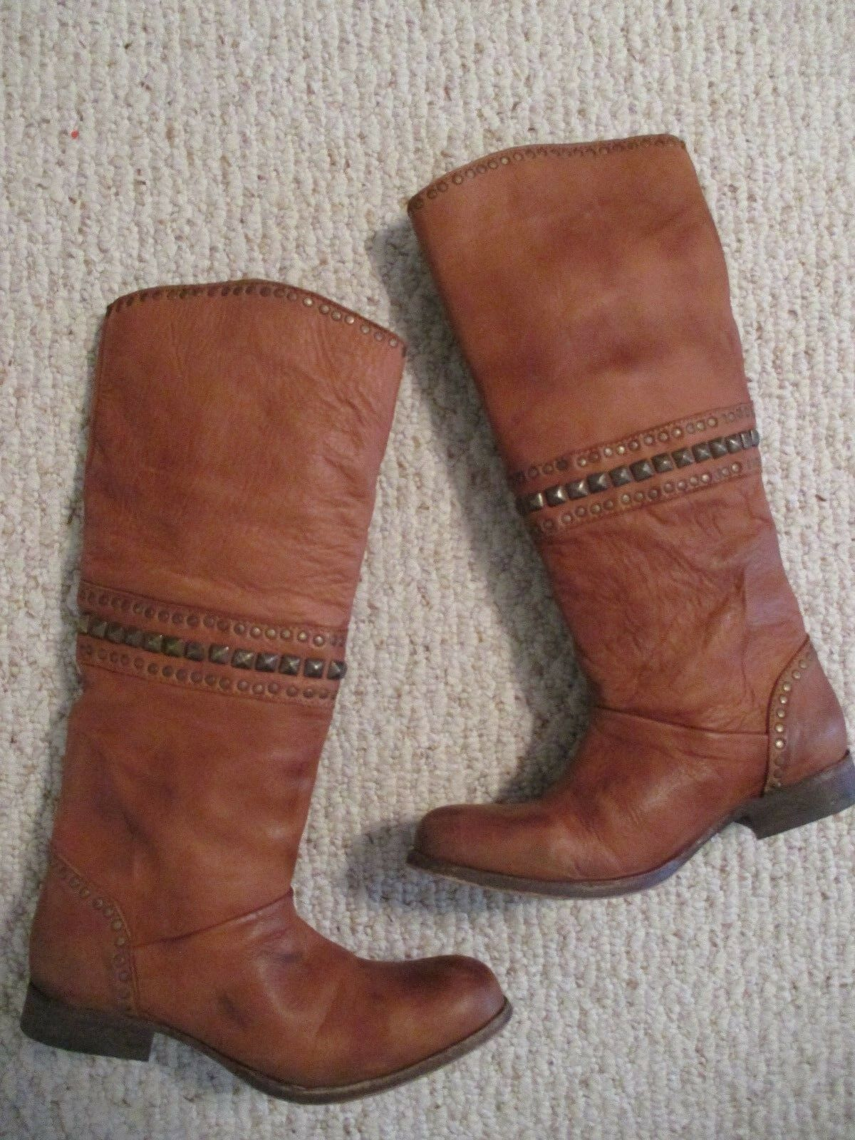 Free People Boots Heartworn Antiqued Stud Distressed Tobacco Size 36 NEW