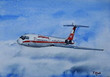 ORIGINAL AQUARELL - Interflug, Ilyushin Il-62.
