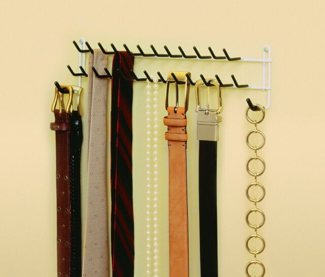 Closetmaid Tie And Belt Rack Closet Organizer Wall Mount Hanger Jewelry Necklace