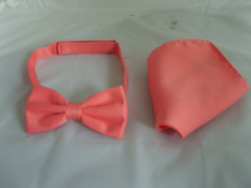 Coral-Salmon Mens Polyester Bow tie /& Hankie Set-in 60 colours/>P/&P 2UK/>1st Class