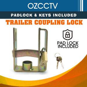 Trailer-Coupling-Hitch-Lock-Heavy-Duty-With-Padlock-Keys-Caravan-Camper-Boat