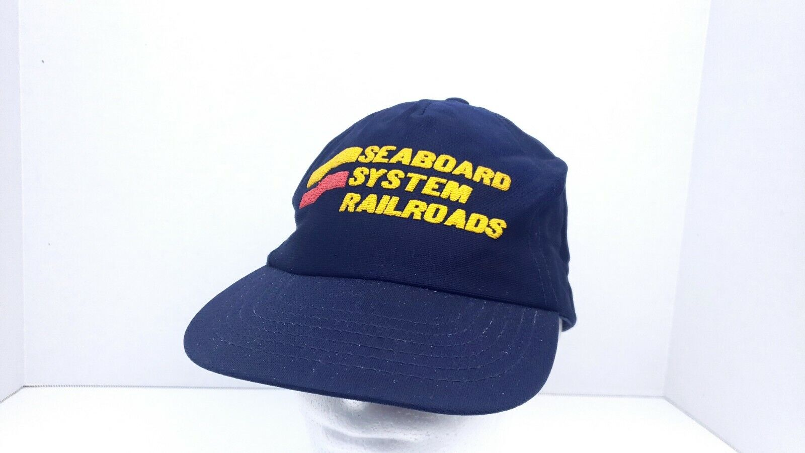 Rare Vintage 80s Seaboard Systems Railroad Train Snapback Hat Cap