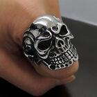 Cool Men 316L Stainless Steel Biker Rings Gift Gothic Gothic Punk Skull 9-13