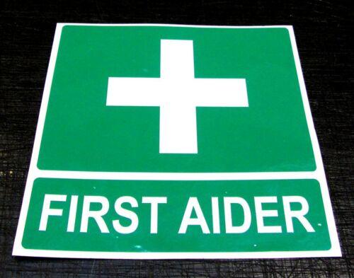 FIRST AIDER self adhesive sticker