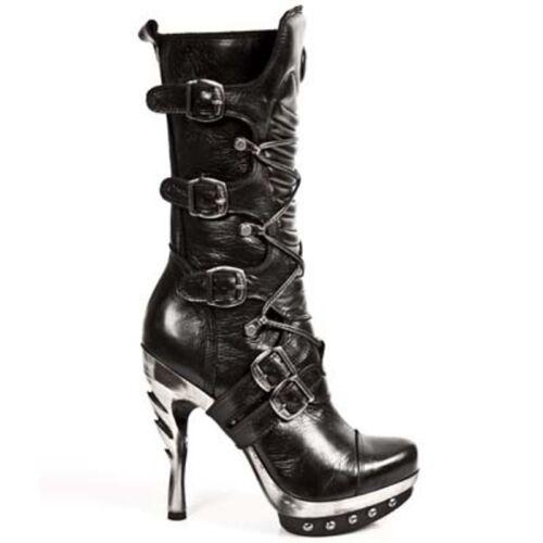 Platform Black New Classic Leather Heel Boots c1 Rock Punk001 Metal Ladies rzqxXz0g