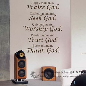Christian Wall Art Quote Removable Vinyl Decal Stickers Art Decor ...