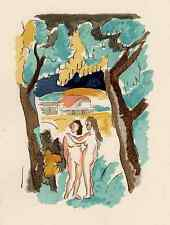 Eva & Eva en el paraíso-Adolphe resorte - 1935-colorierte litografía